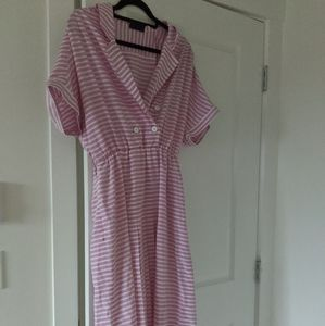 Vintage Pink Candy Striped Dress with pockets